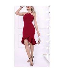 vestido modelador de festa com bojo malha grossa elegante v32 vermelho