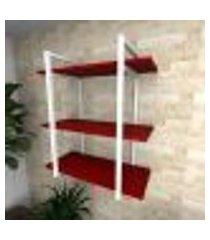 prateleira industrial para sala aço preto prateleiras 30 cm vermelho escuro modelo indb09vrsl