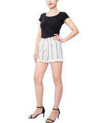derek heart juniors' fringe-trim shorts