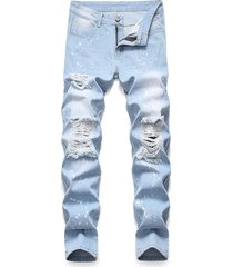 splatter paint ripped pencil denim pants