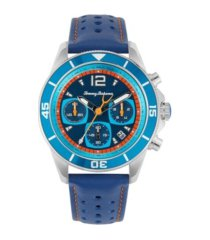 tommy bahama men's blue heron multi leather strap watch, 44mm