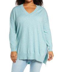 adyson parker step hem tunic sweater, size 2x in dusty blue melange at nordstrom