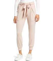 women's gibsonlook cozy belted joggers, size x-small - pink