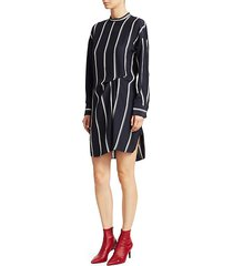 jacklin silk asymmetric striped shift dress