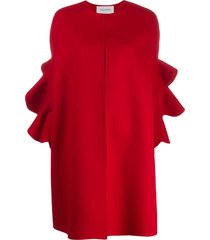 valentino ruffled sleeve cape - red