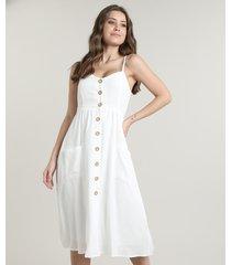 vestido feminino midi com bolsos e botões alça fina off white