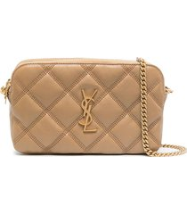 saint laurent diamond quilt shoulder bag - neutrals