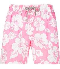 mc2 saint barth floral-print elasticated-waist swim shorts - pink