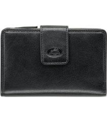 mancini equestrian-2 collection rfid secure medium clutch wallet