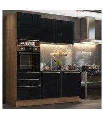 cozinha compacta madesa lux com armário e balcáo 5 portas 3 gavetas - rustic/preto marrom