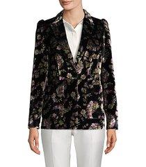 floral-print velvet blazer