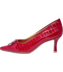 zapato rojo ramarim charol croco