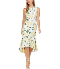 calvin klein big floral printed high-low dress