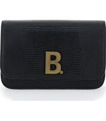 b. lizard embossed leather chain wallet