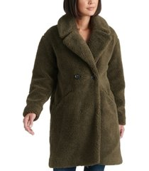 lucky brand teddy fuzzy double-breasted coat