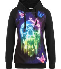 plus size halloween skull and butterfly print pullover hoodie