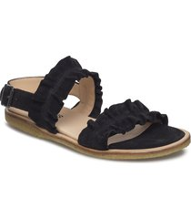 sandals - flat - open toe - op shoes summer shoes flat sandals svart angulus