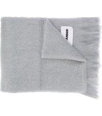 jil sander logo patch fringe scarf - grey