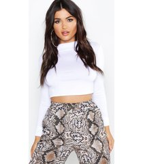 basic funnel neck long sleeve crop top, white