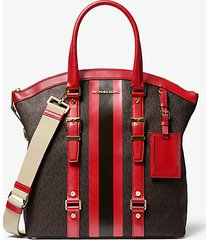 mk borsa tote bedford travel bombata grande con righe e logo - marrone/rosso brillante (rosso) - michael kors