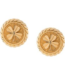chanel pre-owned 1993 cloverleaf oversized earrings - gold