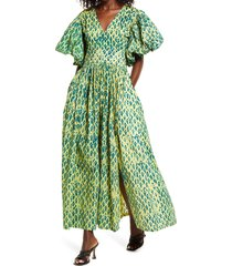 sika samirah puff sleeve maxi dress, size 2 in green /blue at nordstrom