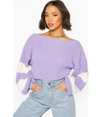 balloon sleeve stripe sweater, lilac