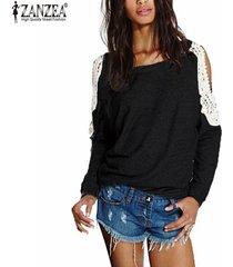 zanzea blusas de las mujeres 2018 mujer suéter manga o cuello largo del hombro del cordón del ganchillo camisa otoño blusas tops de gran tamaño s-5xl negro -negro