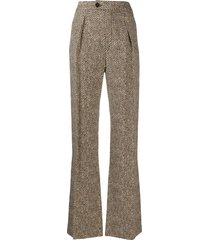 chloé woven zig zag trousers - brown
