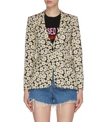 'macey' all-over daisy print single-breast blazer