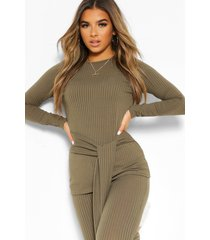 petite knitted rib belted top and leggings, khaki