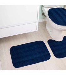 jogo de tapetes para banheiro tapetes junior esmeralda em polipropileno azul petróleo antiderrapante 3 peças