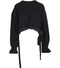 red valentino the black tag sweatshirt with gross grain ribbons