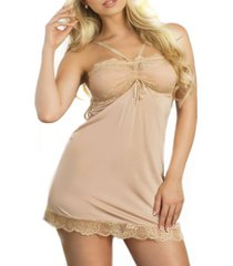 women's plus size shirred cup bust with full slip and bow, dress and skirt combo
