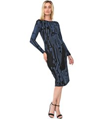vestido de inverno de inverno morena rosa midi estampado azul/preto - azul - feminino - poliã©ster - dafiti