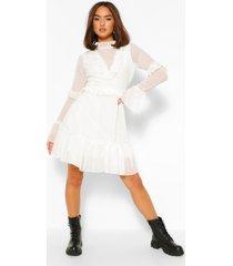 dobby mesh frill neck detail skater dress, white