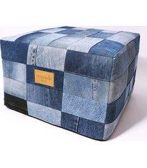 jeansowy puf patchwork