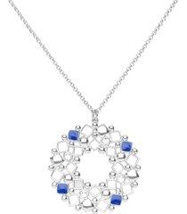 collana lunga in ottone rodiato con ciondolo forma cerchio, cristalli e smalto blu per donna