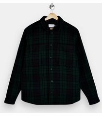 mens green black watch overshirt