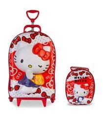 mochila 3d com rodinhas e lancheira hello kitty red  2823bm19 lançamento vermelha