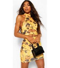lang uitgesneden mini-jurk met hoge hals, geel