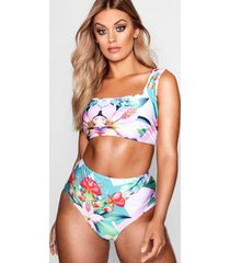 plus tropical print high waist bikini set, green
