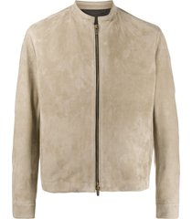ajmone long sleeve zipped jacket - neutrals