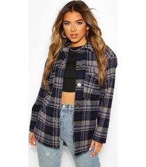 petite flannel wool look longline shirt jacket, blue
