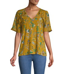 floral short bell-sleeve top