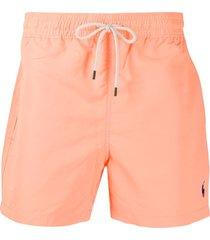 polo ralph lauren embroidered logo swim shorts - orange