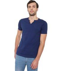 camiseta con botones de hombre licrada - azul oscuro polovers