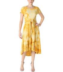 robbie bee tie-front tie-dyed dress