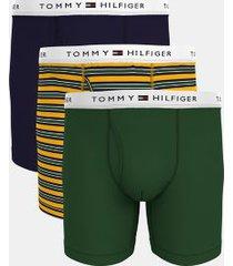 tommy hilfiger men's classic cotton boxer brief 3pk navy blazer/freesia stripe/greener pastures - l