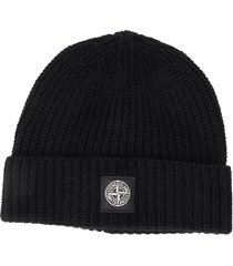 stone island ribbed wool beanie hat - black